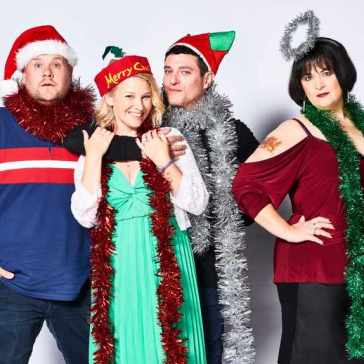 WARNING: Embargoed for publication until 00:00:01 on 26/11/2019 - Programme Name: Gavin and Stacey - TX: n/a - Episode: Gavin and Stacey Christmas Special 2019 (No. n/a) - Picture Shows: Neil 'Smithy' Smith (JAMES CORDEN), Stacey Shipman (JOANNA PAGE), Gavin Shipman (MATHEW HORNE), Nessa Jenkins (RUTH JONES) - (C) GS TV Productions Ltd - Photographer: Tom Jackson